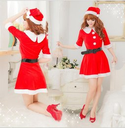 Robes Sexy Pour Noël Pas Cher-Femmes Sexy De Fête De Noël robe uniforme scène spectacle spectacle cosplay Nouvel An Costume Fancy Dress set KKA3386