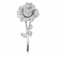 $enCountryForm.capitalKeyWord UK - Sparkly Gold Silver Plated Mix Color Rhinestone Crystal Diamante Rose Flower Bridal Brooch pin For Wedding or Party