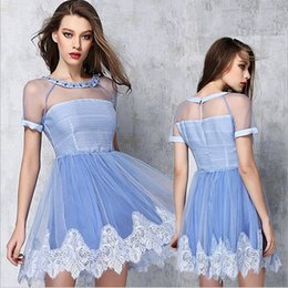 Blue Tutus For Women Canada - 2016 Women Clothes Summer Sexy Cocktail Dresses Ldies Diamond Lace Tutu Skirt Dress Round Neck Sheer Fashion Party Casual dresses for womens