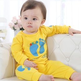 $enCountryForm.capitalKeyWord Canada - Wholesale Yellow Cute Baby Boys Clothing Sets Children's T-Shirts+Pant Suit Outfits 80 90 100 Cheapest Hot Sale 12sets lot