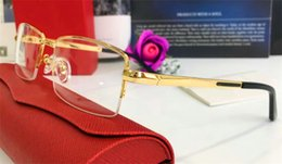 Double top plate online shopping - Best selling glasses frame k half frame gold plated ultra light optical glasses legs for men business style top quality with box