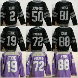 a53fdfe9d 1917-2017 100th Anniversary Chicago Blackhawks Artemri Panarin 88 Patrick  Kane 19 Jonathan Toews BLACK Hockey Fights Cancer Practice Jersey ...