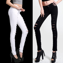 Wholesale womens white pants resale online - Black and white designer harem jeans for women hole feet pants womens plus size flare distressed jeans ladies Korean stretch pencil pants