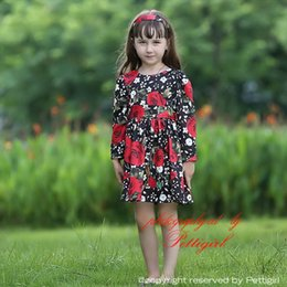 BaBy red roses dresses online shopping - Pettigirl Hot Sale Fall Girls Flower Dress With Print Rose And Sash Baby Girls Dresses Children Clothing GD80810 F