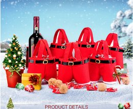 Best Gift For Xmas NZ - 60pcs best price red bag Xmas Bag For Children Santa pants style Christmas Decoration Christmas Wedding Candy Bags christmas gift D395