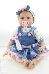 """Silicone Baby Reborn Canada - 22""""VERY CUTE Lifelike Silicone&Vinyl Reborn Baby Toy   Soft Gentle Touch Cloth Body Magnetic pacifier"""