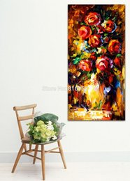 $enCountryForm.capitalKeyWord Canada - Summer Red Rose Dasiy Blooming Bouquet Palette Knife Painting Wall Art Printed On Canvas Picture For Office Home Decor