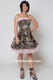 $enCountryForm.capitalKeyWord Australia - Pink Short Camouflage Wedding Dresses 2015 with Ruffles Strapless Above Knee Camo Bridal Gowns Custom Made Lace-up Back Tiers Bride Dress