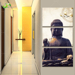 $enCountryForm.capitalKeyWord Canada - 3 Panel Modern Printed Buddha Buddhism Painting Canvas Cuadros Home Decor Buda Paintings Wall Picture For Living Room Unframed