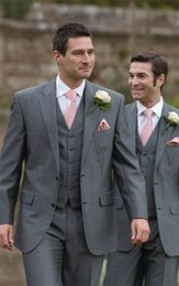 classic gray groom suit Canada - Classic 2015 Groom Tuxedos Light Gray Wedding Suit Groomsman Clothing Business Two Buttons Jacket Formal Suits Three Piecesq120