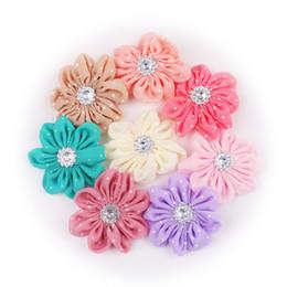 $enCountryForm.capitalKeyWord UK - NEW Ballerina Flowers Polka Dot Chiffon Flowers With Bling Pearls or Rhinestones Button&baby hair accessories for clips ,headband