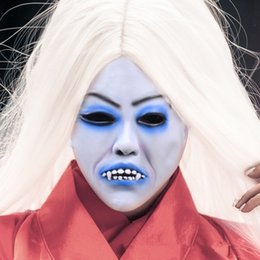$enCountryForm.capitalKeyWord Australia - Cosplay Movie Bride with white hair devil ghost Zombie Mask Halloween Mask Head Creepy Scary Trick Prank toy costume party prop