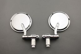 "Round Motorcycle Mirrors NZ - MOTORCYCLE ROUND CHROME 7 8"" HANDLE BAR END MIRRORS CAFE RACER BOBBER CLUBMAN"