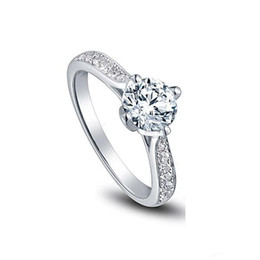 Free Shipping Fine US GIA certificate 18K white gold 1 ct moissanite engagement rings for women,hearts and arrows,wedding diamond rings