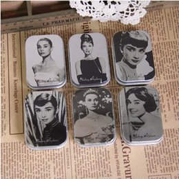 Discount korea bamboo - Wholesale- Korea Grocerie Marilyn Monroe Hepburn Paragraph Tin Storage Box Yewelry Box Wholesale Nostalgia Storage Bottl