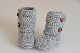 Handmade Newborn Baby Booties Canada - 2015 new handmade newborn girl knitted booties Newborn crochet booties baby first walker shoes for babies0-12M cotton