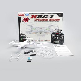 Syma Gyro Quadcopter Canada - RC Helicopter Quadcopter Syma X5C-1 New X5C 2.4Ghz 4CH 6-Axis Gyro 2GB TF Card with 2MP HD Camera RTF Kids Toy