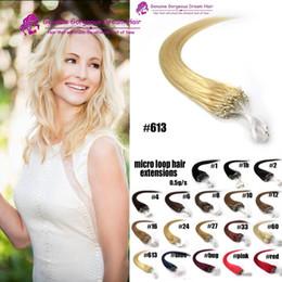 "$enCountryForm.capitalKeyWord NZ - Micro Loop Hair Extensions 16"" 18"" 20"" 22"" 24"" Human Hair Extention #613 Blonde Honey 0.5g strands 50g lot Virgin Hair"