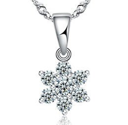 Drawn Wedding Dresses Canada - Top AAA Diamond Austria Snow Flower Crystal Six Draw Cubic Zircon 925 sterling silver Pendant necklace For Wedding Dress Sets Party