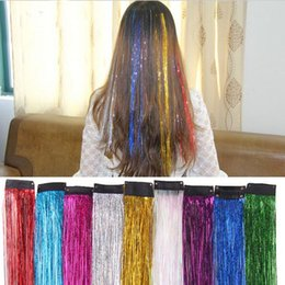 Tinsel hair extensions wholesale online tinsel hair extensions 200pcs colorful metallic glitter tinsel laser fibre hair wig hair extension accessories party stage wig festive supplies pmusecretfo Choice Image
