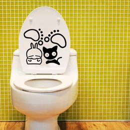 $enCountryForm.capitalKeyWord Canada - Cute Black White Cat and Their Paw Toilet Decal Sticker WC Rabbit Shit Art Decor Poster Penguin Toilet Paper Decoration Painting