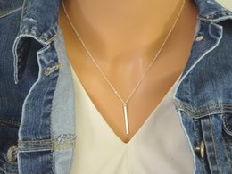 Slim Silver Chain Canada - 10PCS- N110 Gold Silver Personalized Vertical Bar Necklace Skinny Bar Necklace Simple Stick Necklace Slim Initial Bar Necklaces