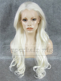 "$enCountryForm.capitalKeyWord NZ - S12 26"" Extra Long White Wavy Wig #1001 White Body Wave Japan Fiber Lace Front Kanekalon Wig Carnival Wig White Full Wig"