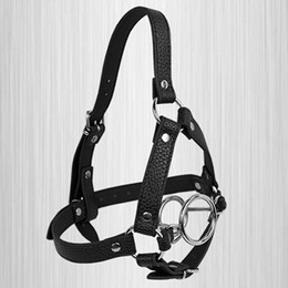 $enCountryForm.capitalKeyWord Canada - Plug It Up Leather Head Harness with Mouth Gag Steel Double O-Ring Oral Sex Adult Bondage Sex Set For Couple
