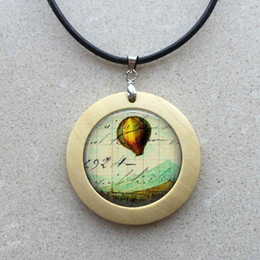 $enCountryForm.capitalKeyWord NZ - free shipping Wholesale girls glass cabochon necklace Hot Air Balloon hot air balloon jewelry art wooden pendant for necklace silver 256