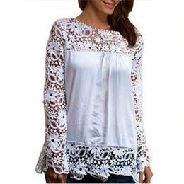 $enCountryForm.capitalKeyWord NZ - Wholesale- 2017 Summer Women White Lace Blouses Shirts Fashion Chiffion Blouses Hollow Out Top Female Plus Size Women's Clothing 4XL 5XL 50