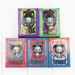 Wholesale Pendant Sets NZ - 5pcs Set SuiciSquad de Harley Quinn Joker Pendant Keyring Keychain PVC Action Figure Model Toy Doll With Box