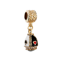 Chamilia gold plated online shopping - Faberge egg pendant playing cards dangle Easter Day charm European spacer bead fit Pandora Chamilia Biagi charm bracelet