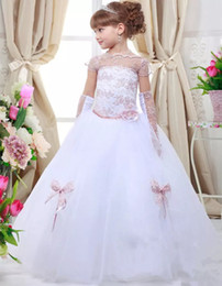 tulle ball gown for little girl 2019 - 2018 New Princess Little Girls Pageant Dresses Ball Gown White Tulle Flower Girls Dress for Wedding Embroidery Cheap Par