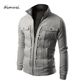 Discount wholesale men s tracksuits - Wholesale- DIMUSI Hoodies Mens Sportwear Zipper Decoration Sweatshirt Men Casual tracksuit Coat Fashion Men Hiphop Cloth