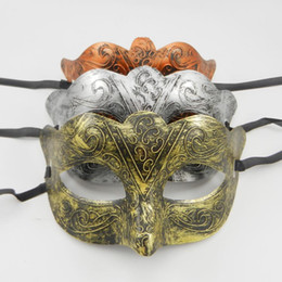 China Greek Man Eye mask Fancy dress Roman warriors Costume Venetian masquerade party Mask wedding mardi gras dance favor gold silver copper suppliers