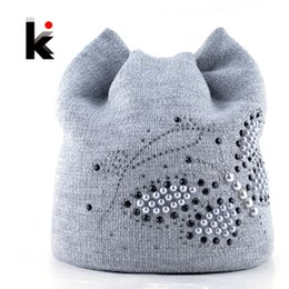 cat diamond 2019 - Winter Cat Beanie Hat Ladies Knit Hats For Women Beanies Caps Pearls Butterfly Diamond Beanie Touca Knitted Cap With Ear