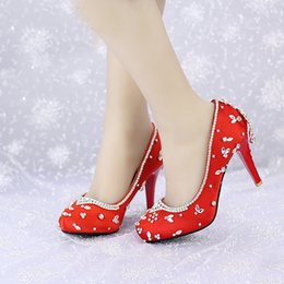 $enCountryForm.capitalKeyWord NZ - 2019 Crystal Wedding Shoes Red Satin Color Banquet Pageant Dress Shoes Round Toe Platforms Women Shoes Valentine Party Pumps