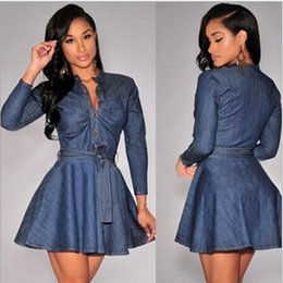 Barato Pescoço Pescoço Sexy-New Arrivals Women Slim V-neck Single Breasted Denim Vestido Vintage Sexy Summer Style Cowboy Dress Casual Mini Dress frete grátis