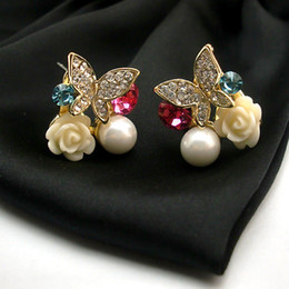 Butterfly White Rose Canada - New design the butterfly earrings 18k gold plated rose flower nail earring