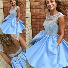 $enCountryForm.capitalKeyWord NZ - Elegant Light Sky Blue Short Homecoming Party Dresses With Luxury Beading Pearls Mini Girls Formal Graduation Gown 2018