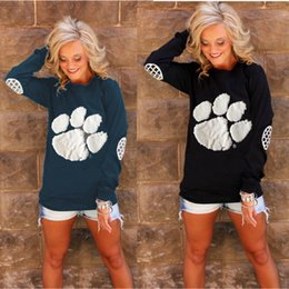 $enCountryForm.capitalKeyWord Canada - Women Sweater Soft Comfortable O-neck Slim Pullover Paws Printed Long Sleeved Women's T-shirt