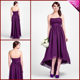 Barato Barato Roxo Mau Vestido Baixo-Strapless Ruched Cheap Vestidos de dama de honra roxa Chiffon High Low Maid of Honor Dress Cocktail Party Vestidos 2017 Nova chegada