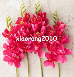 Discount flower arrangement centerpieces for weddings Silk Freesia Flower Fake Orchids 30cm Artificial Orchid Flowers for Wedding Centerpieces Floral Arrangement Artificial Decorative Flowers