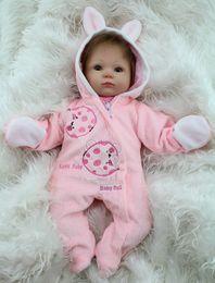 $enCountryForm.capitalKeyWord Canada - Wholesale-18 Inch Soft Silicone Reborn Baby Dolls Baby Alive Doll For Girls Handmade Vinyl Stuffed Toys Realistic NPK Brand Doll Big Eyed