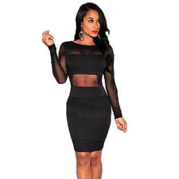 f3fb3e74bc1 Wholesale- Hot sale Mesh patchwork dress Long Sleeve Sexy club dress 2016 Plus  Size Black Bodycon dress Ohyeah New arrival Club wear