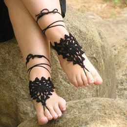 $enCountryForm.capitalKeyWord Australia - Women Hand Crochet Triangles Shoes Handmade Design Footless Gothic Sandals Beach Wedding Trending,Made to Order