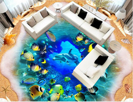 Dolphin Room Canada - Large 3D three-dimensional marine world mother-child dolphin floor paintingPVC wallpaper for room
