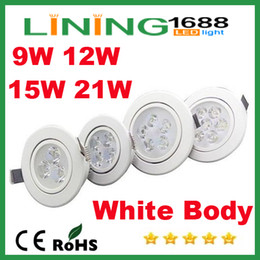 Ceiling Aluminum Shell Canada - White Shell Dimmable 9W 12W 15W 21W Led Down Lights High Power Led Downlights Recessed Ceiling Lights CRI>85 AC 110-240V With Power Supply