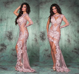 Pink High Low Party Dresses Canada - Sexy High Low Pink See Through Evening Dresses Sheath One Long Sleeves Party Gowns 2016 Spring Lace Appliques PROM Gowns