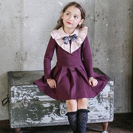 Barato As Meninas Vestem A Marinha Vermelha-Moda Coreano Big Girls Dresses Preppy Estilo Pricness Vestido A-Line Pearl Bow Collar Algodão Pure Color Kids Clothes Vestidos Navy Red A7793